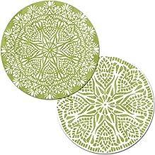 Counterart Set of 4 Round Reversible Placemats Green Mandala