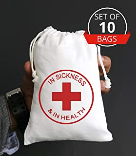 IN SICKNESS AND IN HEALTH Hangover Kit Bachelorette Party Favor Hang over Gift Bags Wedding Cotton Muslin Welcome Favors Recovery Kit Bags