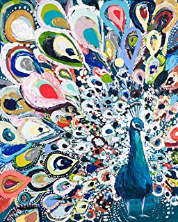DIY Peacock Rainbow Diamond Painting, Square Full Drill Diamond Painting Kit for Adults, 5D Diamond Painting, 5D Diamond Painting kit, for Home Wall Decor, Paint by Number Kits (11.8X15.8 inch)