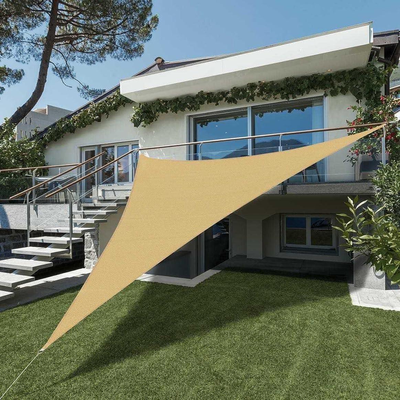 参加する侵入する将来のSEASONS 5m 正三角形砂色 UVカット シェード セイル