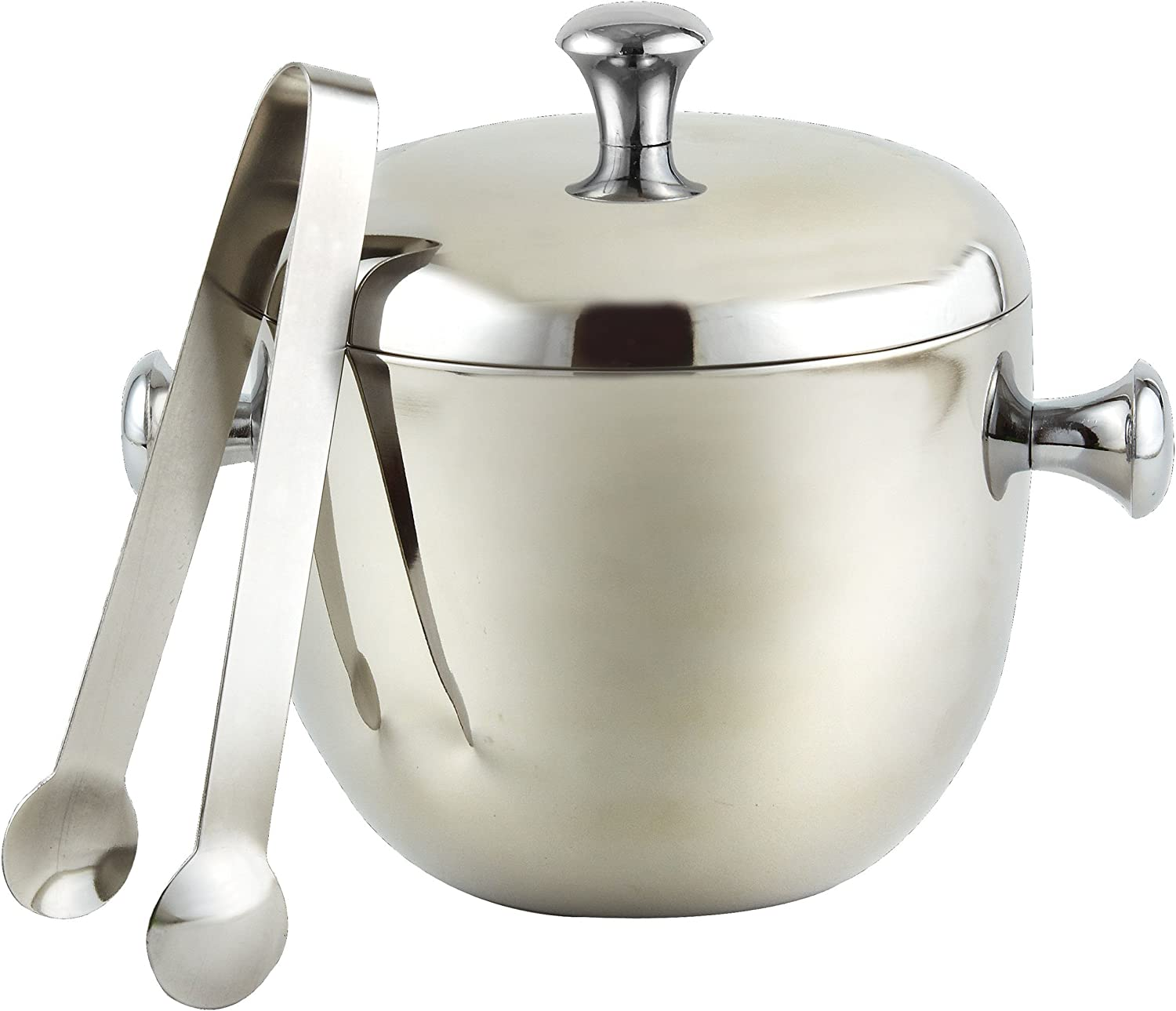 Elegance Stainless Steel 2 Qt Apple Ice Bucket Double Wall w Tongs