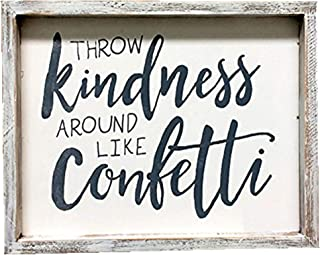 Parisloft Throw Kindness Around Like Confetti Wood Wall Framed Sign White Washed Wood Wall Decor 10x1x8inches