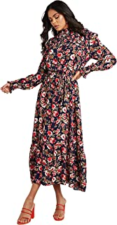 Shirred High Neck Floral Printed Maxi Women's Dress