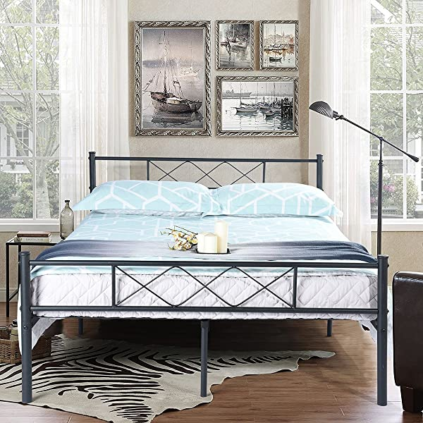 SimLife Metal Platform Bed Frame With Two Headboards Mattress Foundation Slat Support No Box Spring Needed Full