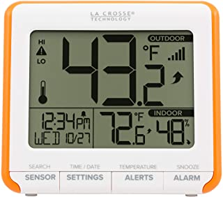 La Crosse Technology 308-179Or Weatherstation Alarm Wireless Thermometer with Trends and Alerts, Orange/White