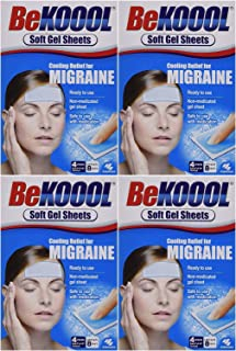 Be Koool Cooling Relief for Migraine, Soft Gel Sheets, 4 Sheets (Pack of 4)