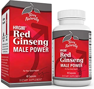 Terry Naturally HRG80 Red Ginseng Male Power - 48 Capsules - Korean Red Ginseng Root Powder, Panax Ginseng - Boost Blood F...