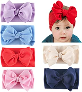 SANXIA Baby Girl Nylon Knotted Headbands Newborn Infant Toddler Hairbands and Bows Child Hair Accessories