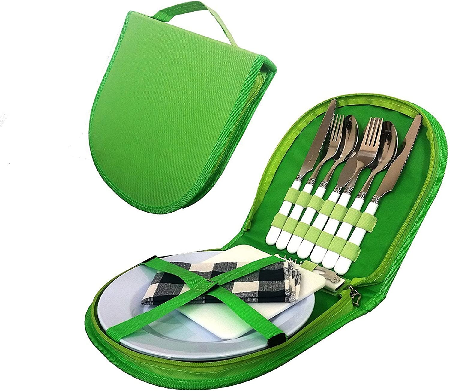 Generic nsil Picnic Kit Pouch ng Silver Cutlery Organizer Utensil Camping Si Picnic Set Organizer Camping Silverware ganiz