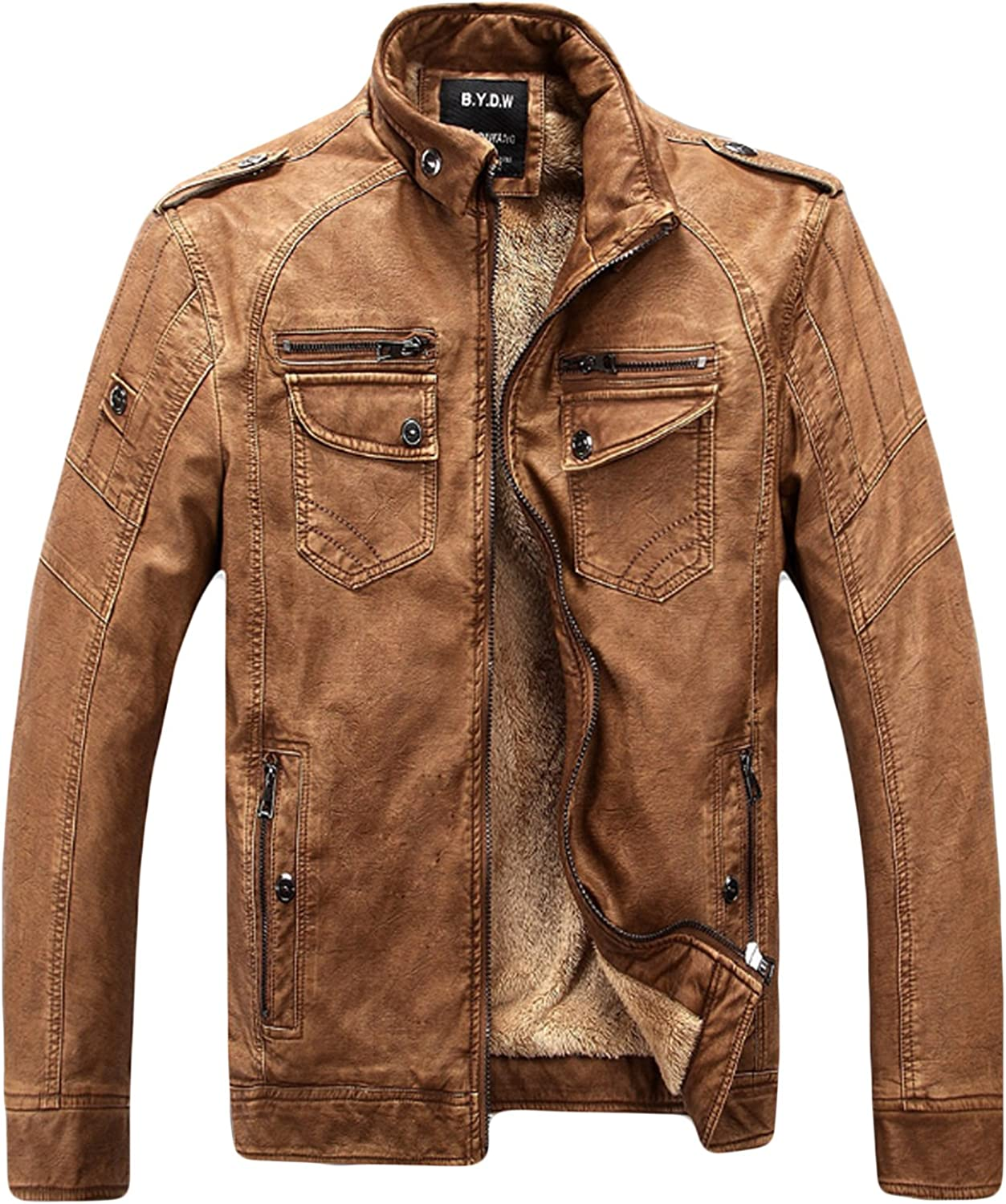 Bestgift Men's Stand Collar Outwears Fleece Lined Faux Leather Retro Short Jacket with Pockets