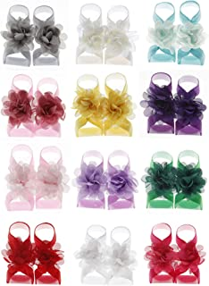 Baby Barefoots Sandals Chiffon Foot Flower Feet Accessories (12 Packed)