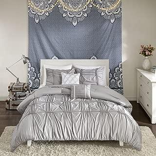 Intelligent Design Benny 5 Piece Metallic Elastic Embroidery Comforter Set Teen Bedroom Bedding, Full/Queen Size, Gray