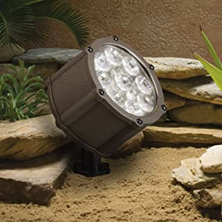 Kichler Lighting 15752AZT LED Accent Light 9-Light Low Voltage 35 Degree Flood Light, Textured Architectural Bronze with Clear Tempered Glass Lens