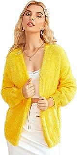 Verdusa Women's Long Sleeve Open Front Fuzzy Faux Fur Cardigan Coat Outwear