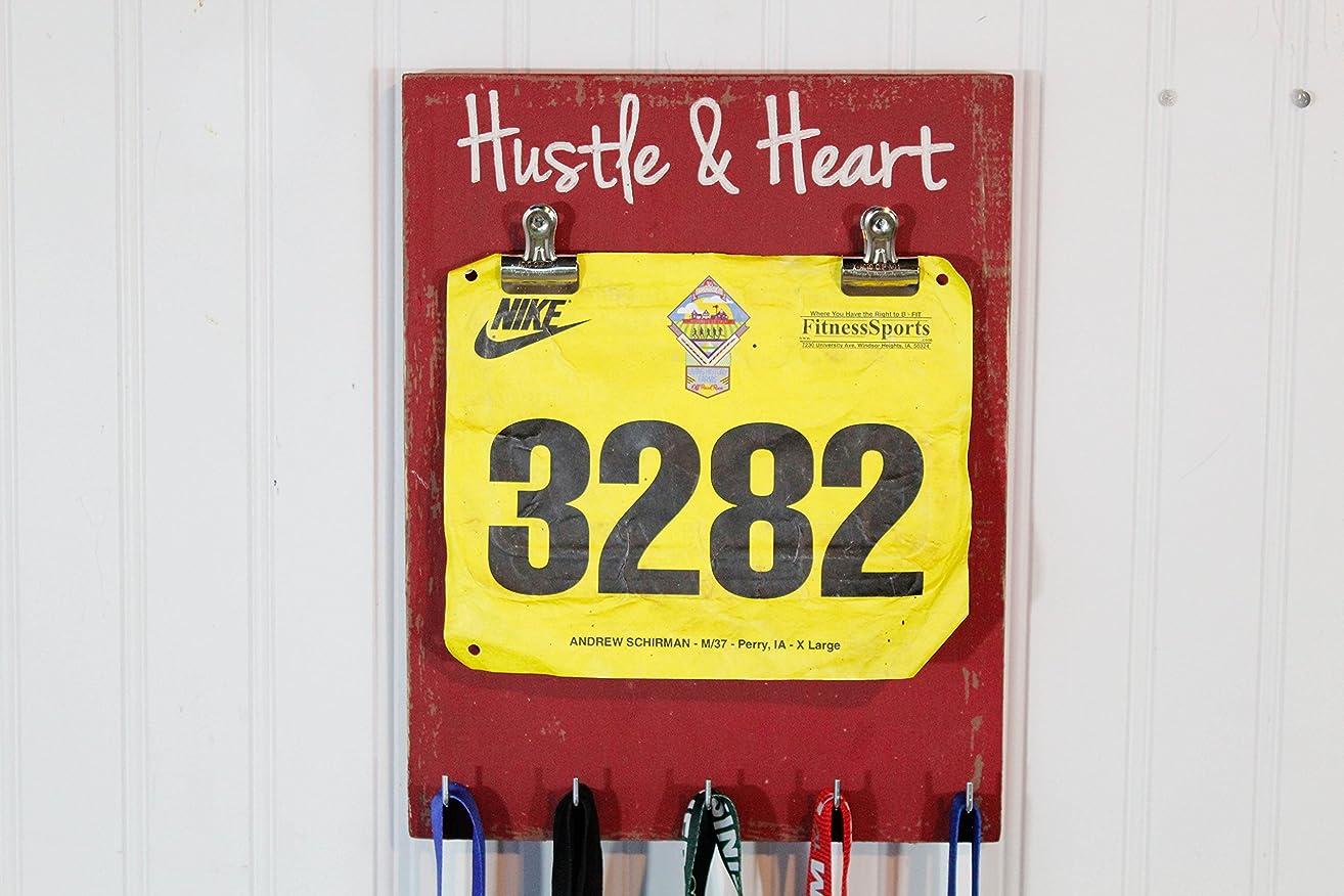 Running Medal Holder Hustle and Heart - Carved Sign - Race Medal Holder- Bib Holder