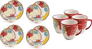 The Pioneer Woman Blossom Jubilee 12-Piece Dinnerware Set bundle with The Pioneer Woman Blossom Jubilee 16-Ounce Mug Set, Set of 4