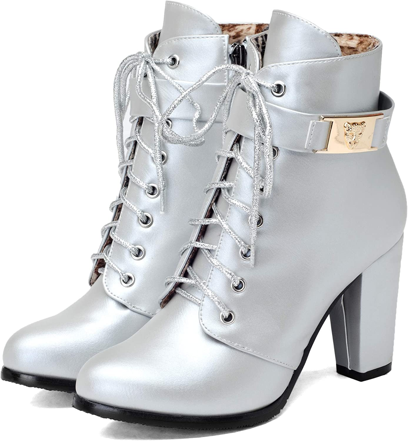 CLAKION Women PU Leather Boots Sexy Lace up Buckle High Heels Boots