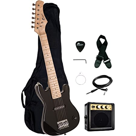 """30"""" Kids 1/2 Size ULTIMATE Electric Guitar Package with 3W Amp, Gig Bag, Strap, Cable and Exclusive RAPTOR Picks (Black)"""