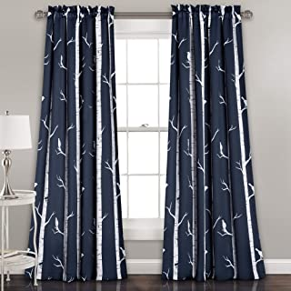 Lush Decor Navy Bird On The Tree Curtains Room Darkening Window Panel Set for Living, Dining, Bedroom (Pair) 95