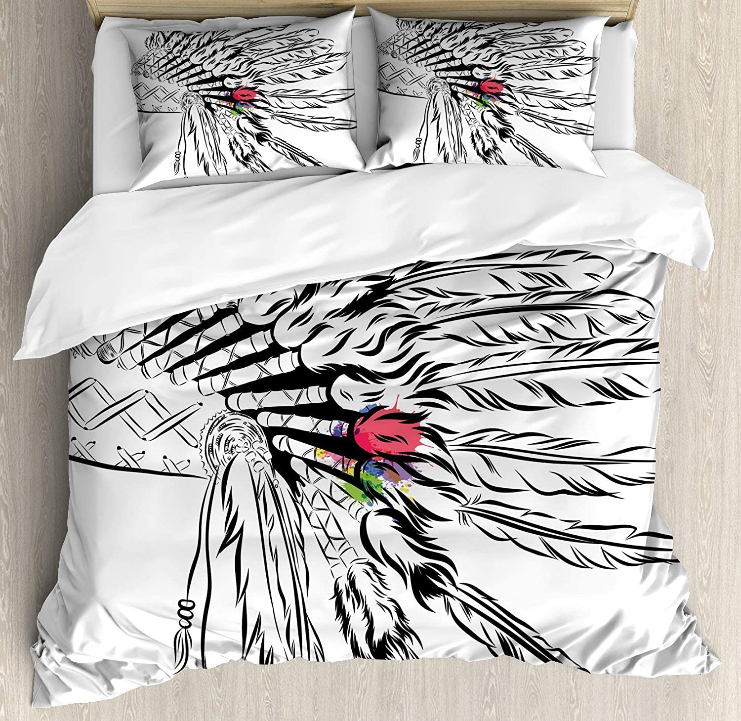 USOPHIA Feather 4 Pieces Bed Sheets Set Full Size, Native American Headdress in Sketch Style with color Splashes Primitive Floral Duvet Cover Set, Black White Multicolor