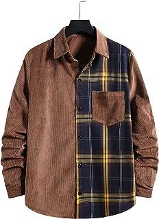 Lentta Men's Loose Lapel Collar Button Down Plaid Colorblock Corduroy Shirt Jacket