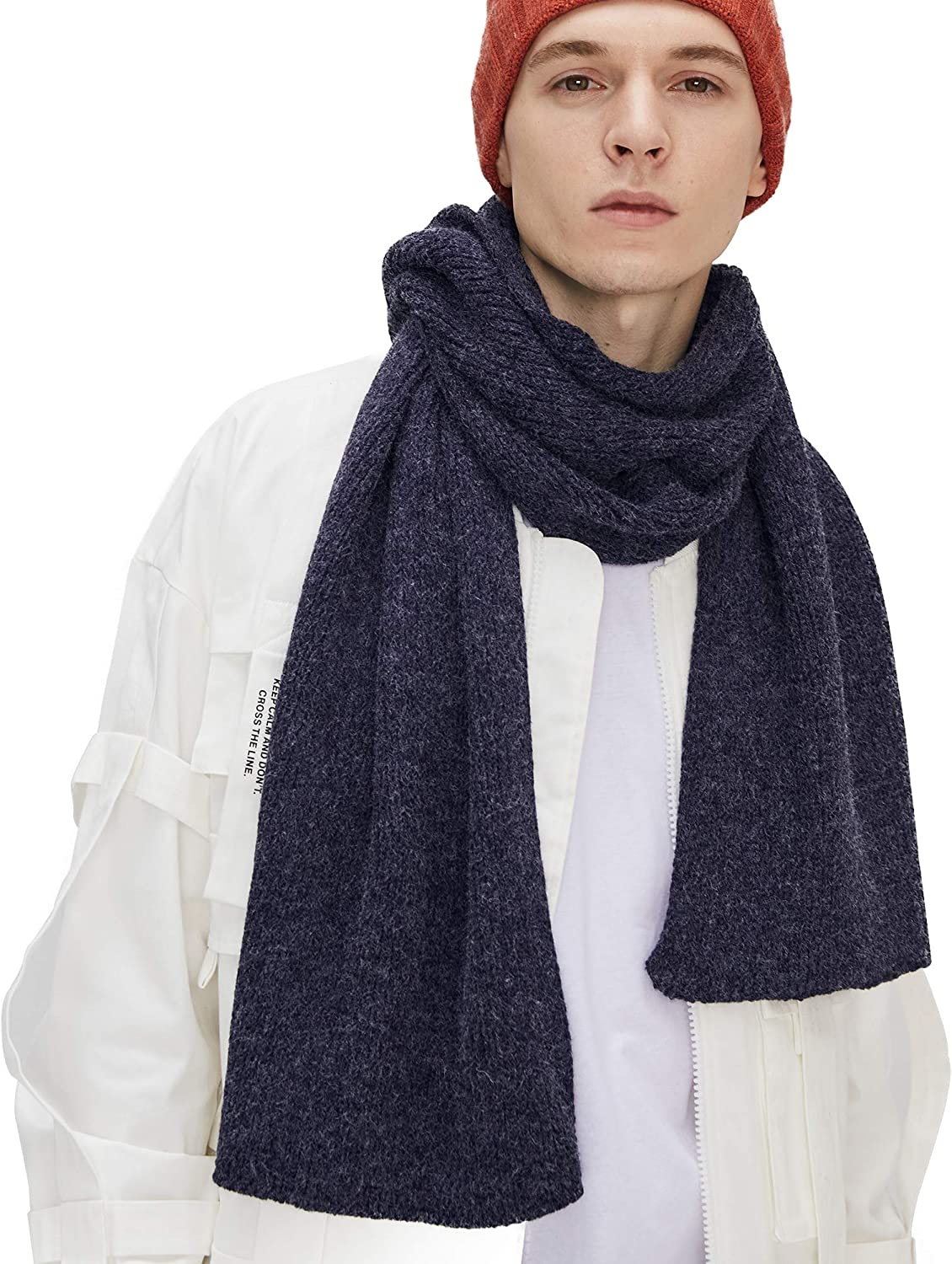 CACUSS Men's Max 89% OFF Solid Winter Scarf Knitted Warm Max 54% OFF Neckwear Long Soft