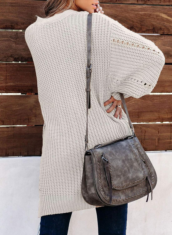Modasua Damen Strickjacke Lang Cardigan Casual Langarm Wasserfall Jacke Gestrickt Sweatshirt Oversize Pullover /Übergro/ß Langarmshirt Strickmantel