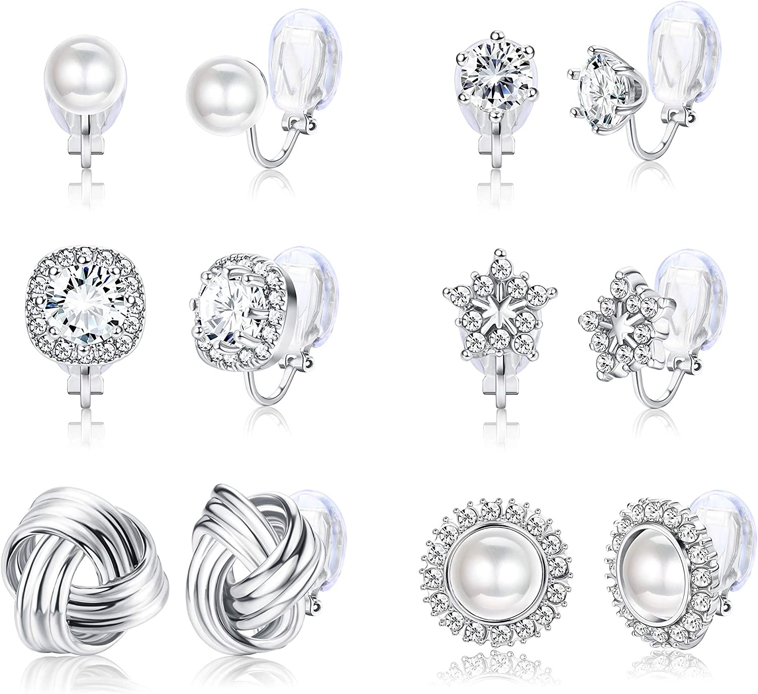 ORAZIO 6 Pairs Clip On Earrings for Women Round Faux Pearl CZ Twist Knot Fashion Non Pierced Clip On Earrings Set