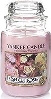 Yankee Candle Duftkerze im Glas (groß)   Fresh Cut Roses   Brenndauer bis zu 150 Stunden
