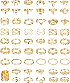 FIBO STEEL 54-58 Pcs Vintage Knuckle Rings for Women Stackable Simple Plain Band Midi Finger Bohemian Retro Joint Rings Ho...