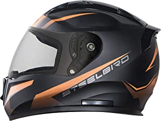 Stelbird SA-1 Whif Full Face Helmet In Matt finish (Large 600 MM, Matt Black/Orange with Plain Visor)