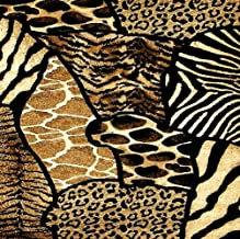 """Custom & Cool {3.5 Inches} Set Pack of 8 Square """"Grip Texture"""" Drink Cup Coasters Made of Flexible Poly Fabric w/ Rubber Bottom & Safari Animal Print Design [Colorful Tan, Brown, Black & White]"""