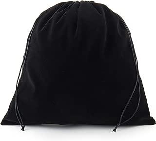 Sanrich Large Black Velvet Pouch Bags With Drawstring 5 Pack -14 x14 INCH Treat Bag For Gift Hair Dryer Hotel Storage Bag Velvet Gym Bags Drawstring Cloth Packing Bag