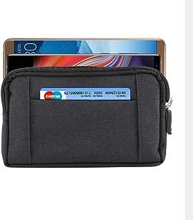 Men Zipper Denim Cellphone Pouch Belt Clip Holster Case for LG G7 ThinQ/LG V35 ThinQ/LG G7 G6 / LG V30 / LG Stylo 4 / Motorola Moto E5 Plus / G6 Plus / Z3 Play/Alcatel 7 / 5V / HTC U12 (Black)
