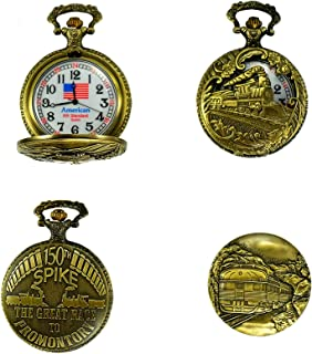 """North American Railroad Approved, Railway Regulation Standard, Train Pocket Watch""""150th Aniversary USA"""" Japanese Movement""""Steam Engine #""""3"""" (of 5 Watch Collection)"""