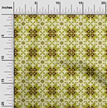 oneOone Velvet Olive Green Fabric Floral & Tiles Moroccan Fabric for Sewing Printed Craft Fabric by The Yard 58 Inch Wide