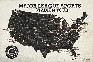 GeoJango Football & Baseball Stadium Map Poster - Vintage Edition (24Wx16H inches)
