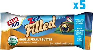 Clif Kid ZBAR Filled - Organic Granola Bars - Double Peanut Butter - (1.06 Ounce Energy Bars, Lunch Box Snacks, 5 Count) (Packaging May Vary)
