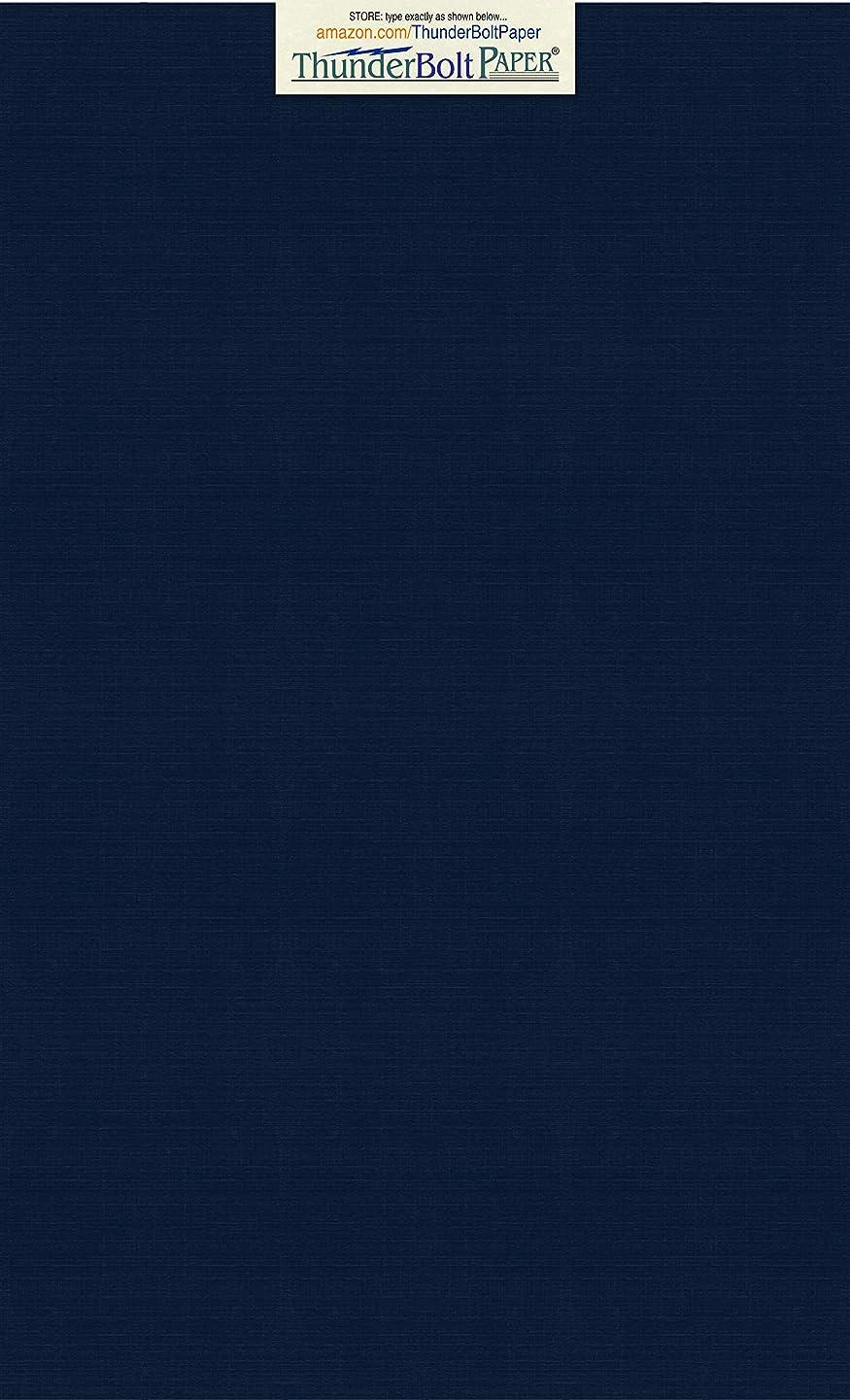 25 Dark Navy Blue Linen 80# Cover Paper Sheets - 8.5