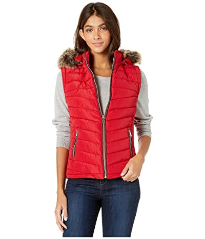 YMI Snobbish Polyfill Puffer Vest with Faux Fur Trim Hood (Red) Women