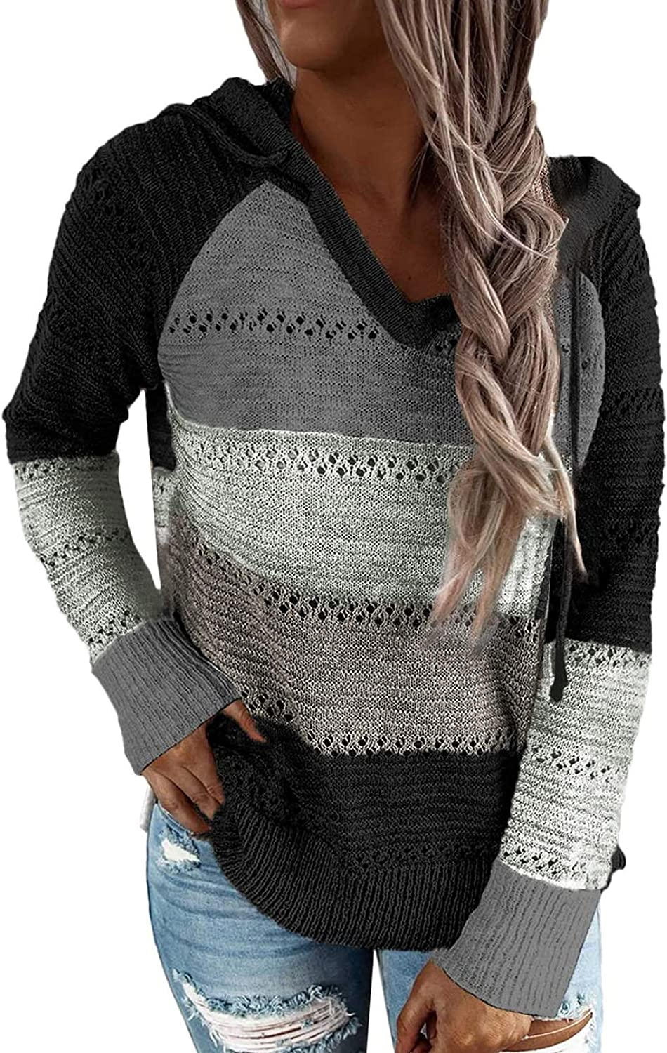 Biucly Women's Color Block Knit Hoodies Sweaters Loose Long Sleeve V Neck Drawstring Pullover Sweatshirts(S-3XL)