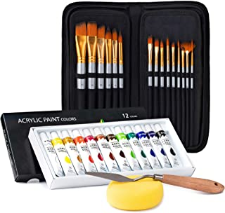 Acrylic Paint Brush Set With 15 Paint Brushes For Acrylic Painting And Bonus 12 Color Acrylic Paint Set