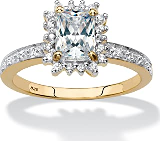 18K Yellow Gold over Sterling Silver Emerald Cut Created White Sapphire and Diamond Accent Halo Engagement Ring