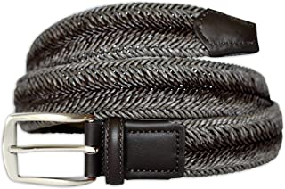 PASQUALE CUTARELLI Mens Stretch Cotton Braided Belt with Bounded Leather Trim