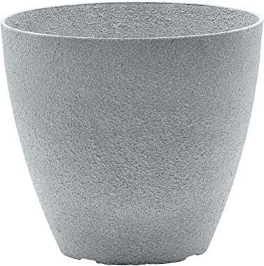 2-Pack 15-in. Round Faux Stone Resin Garden Potted Planter Flower Pot Indoor Outdoor, Grey