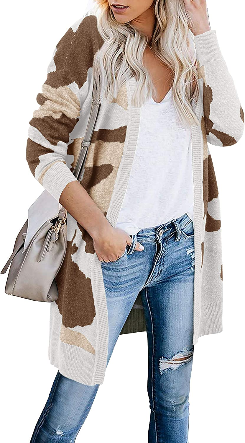 Tutorutor Womens Open Front Camo Sweaters High quality new Long Max 57% OFF Cardigan Oversize