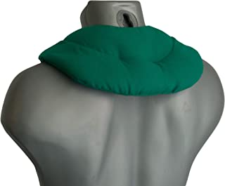 Pequeña almohada de cuello | Saco cervical térmico de semillas | Cojín compartimentado para huesos de cerezas (color: verde)