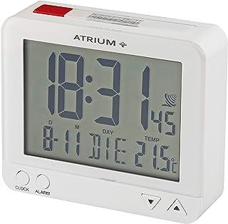 ATRIUM radiostyrd väckarklocka digital vit med belysning, snooze, datum- och temperaturvisning A760-0.