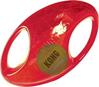 KONG - Jumbler Football - Interactive Fetch Dog Toy with Tennis Ball (Assorted Colours) - For Medium/Large Dogs
