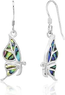 Sterling Silver Abalone Paua Shell Butterfly Dangle Hook Earrings